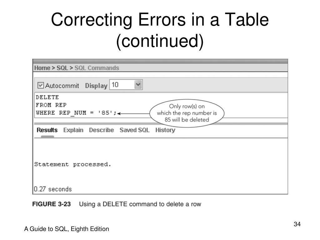 Correcting Errors in a Table (continued)