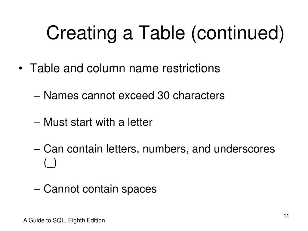 Creating a Table (continued)