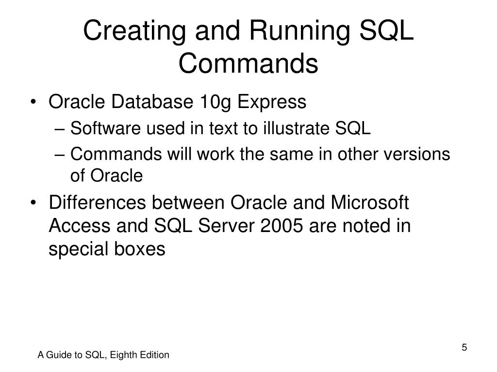 Creating and Running SQL Commands