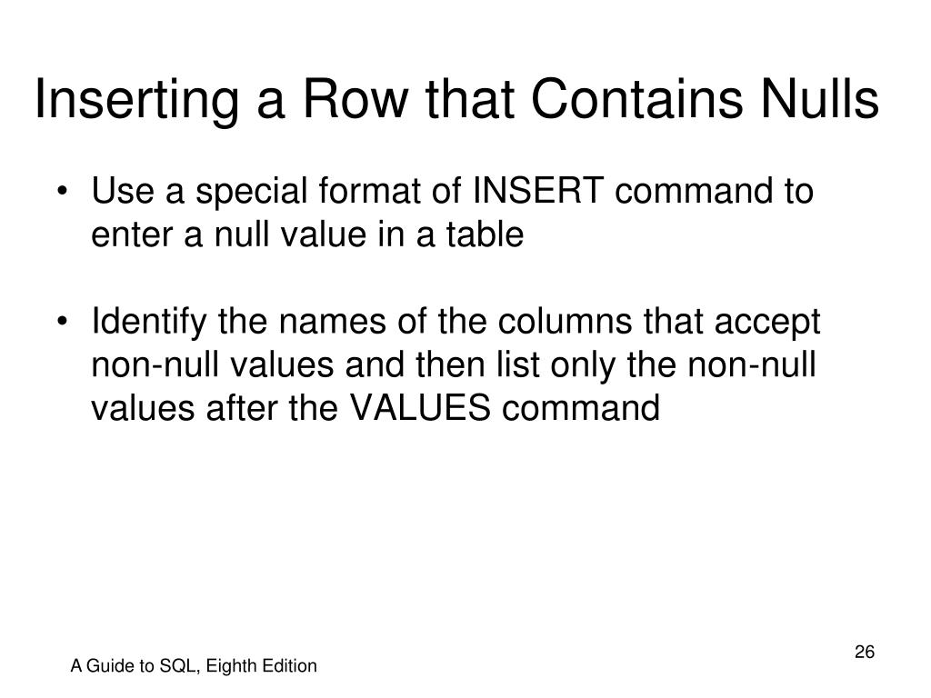 Inserting a Row that Contains Nulls