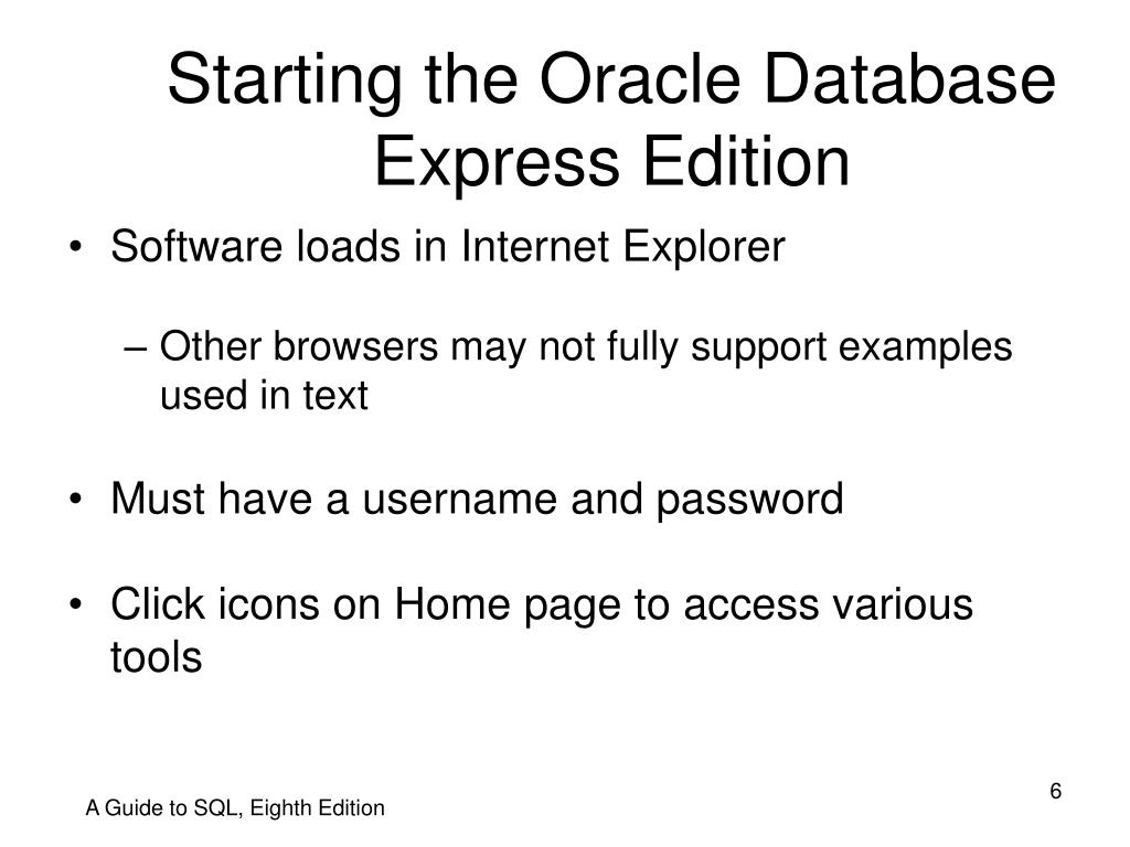 Starting the Oracle Database Express Edition
