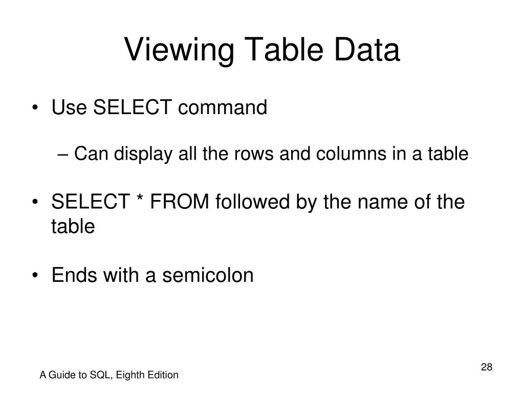 Viewing Table Data