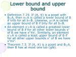 lower bound and upper bound