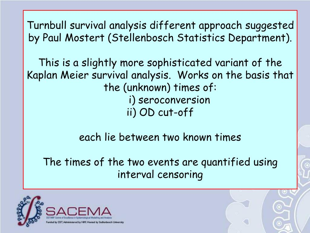Turnbull survival analysis different approach suggested by Paul Mostert (Stellenbosch Statistics Department).