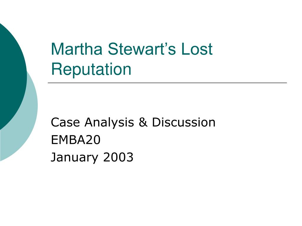 matha stewart lost reputation