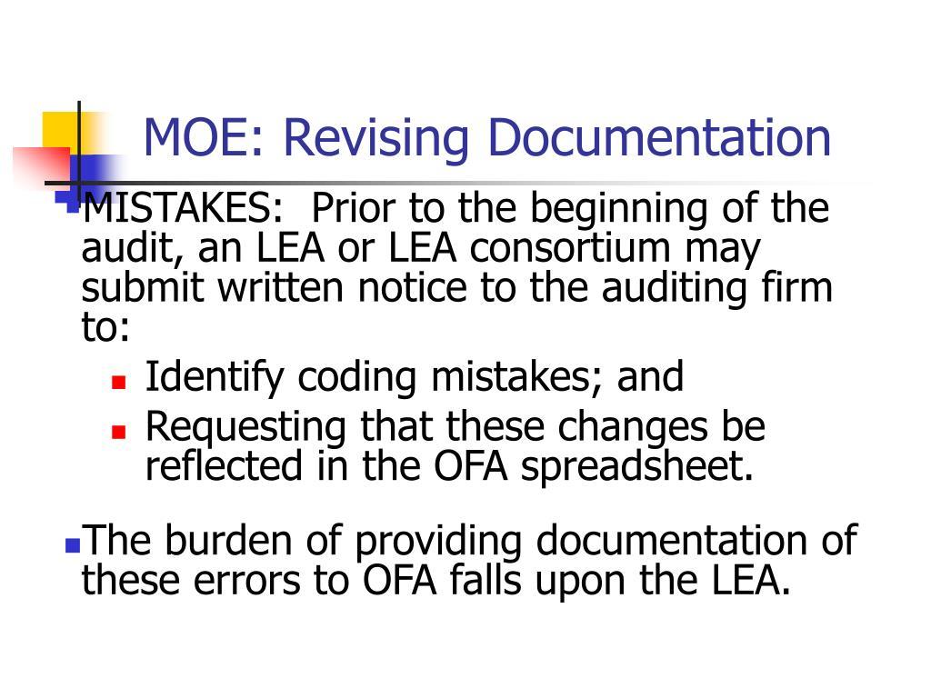 MOE: Revising Documentation
