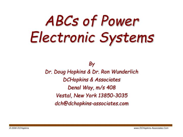 abcs of power electronic systems n.