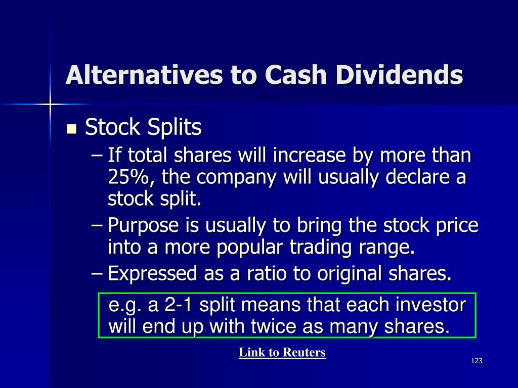 e.g. a 2-1 split means that each investor will end up with twice as many shares.