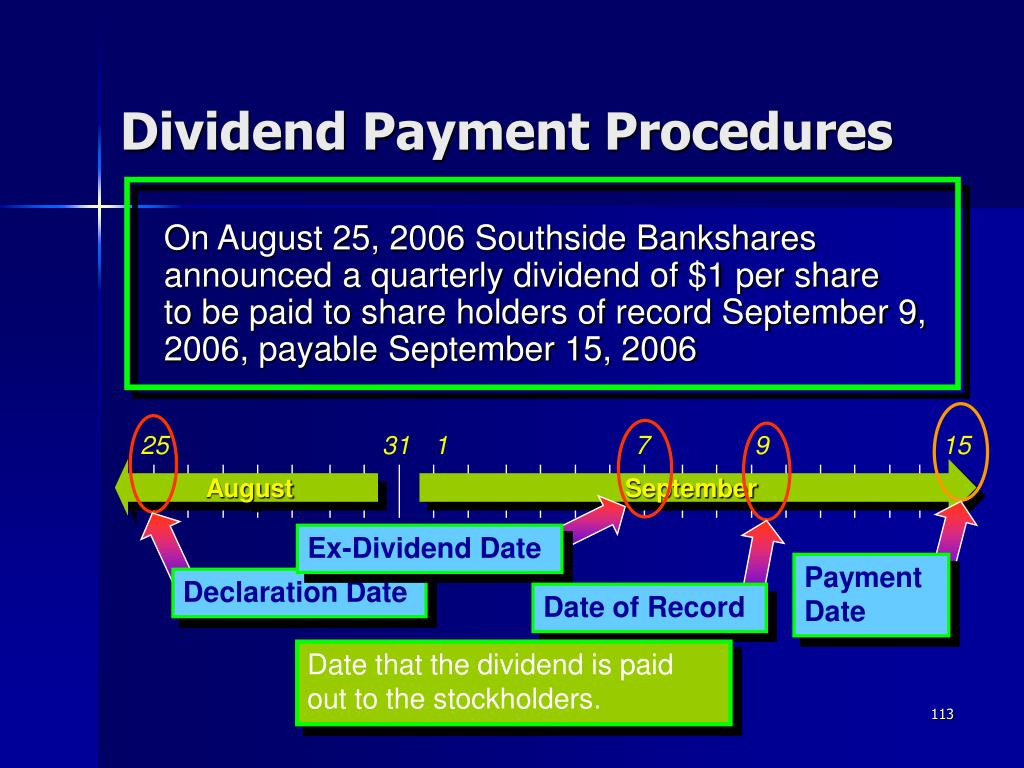 On August 25, 2006 Southside Bankshares announced a quarterly dividend of $1 per share