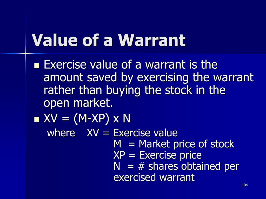 Value of a Warrant