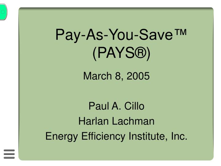 pay as you save pays n.