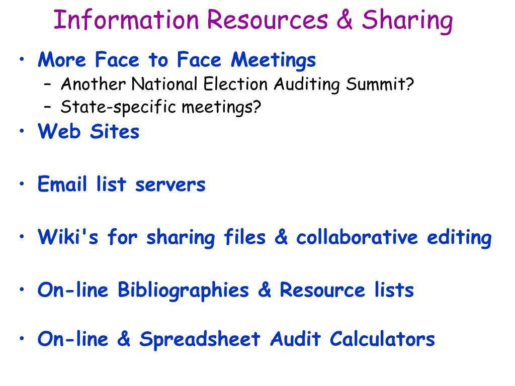 Information Resources & Sharing