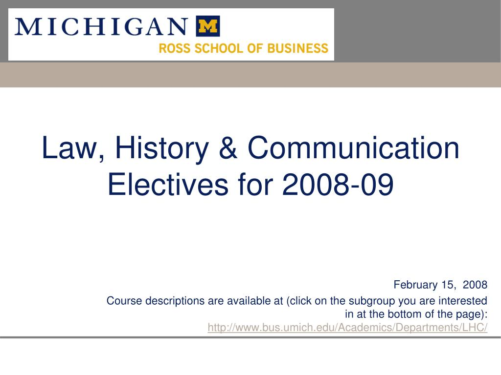 law history communication electives for 2008 09 l.