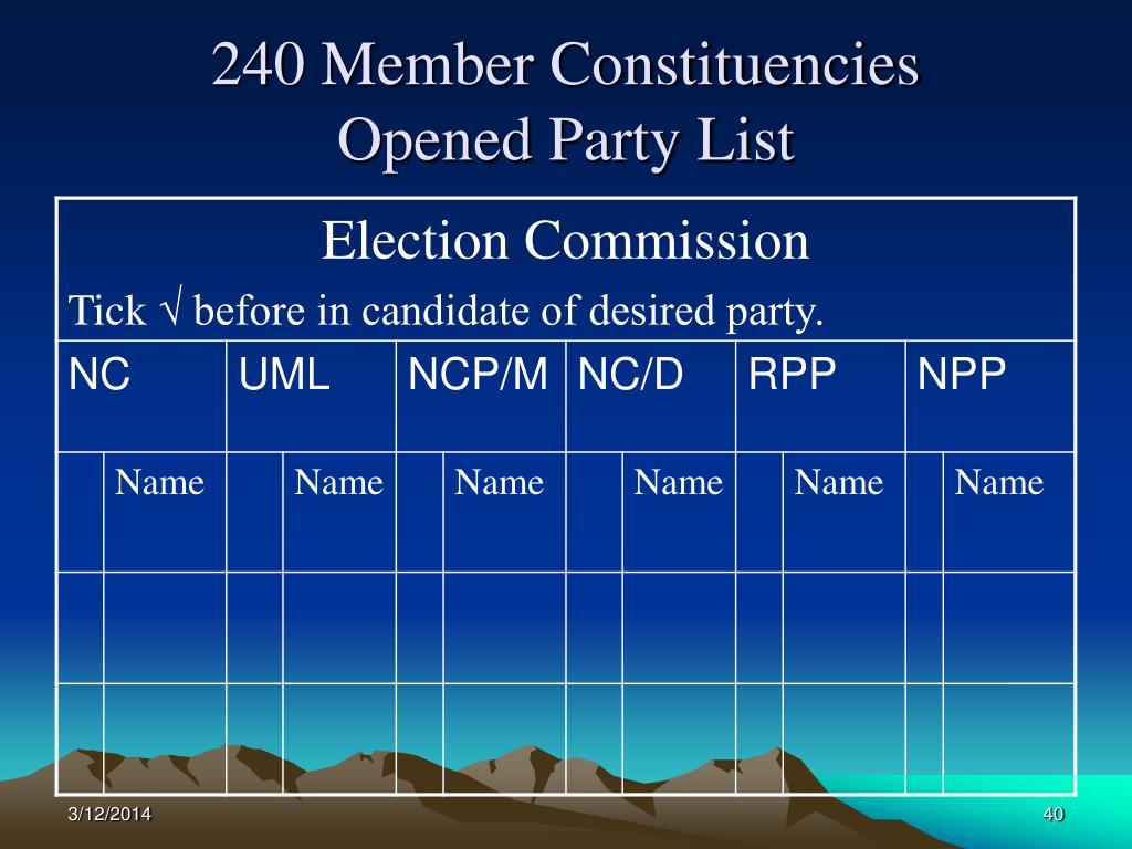 240 Member Constituencies