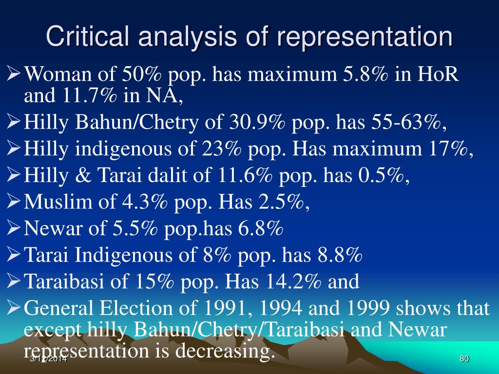 Critical analysis of representation