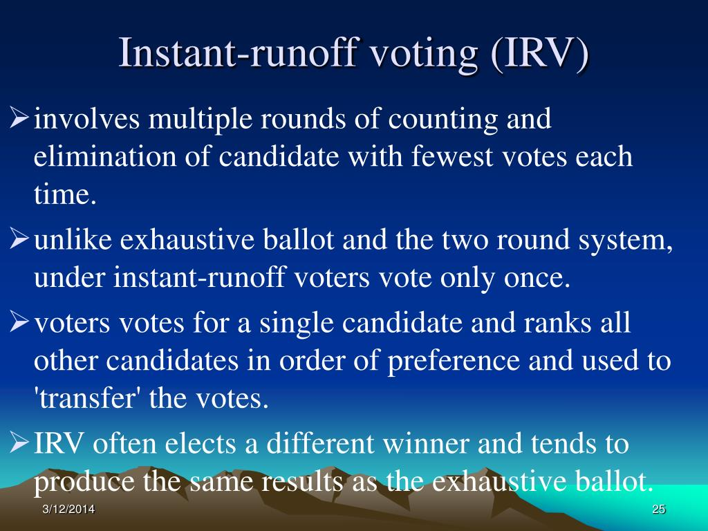 Instant-runoff voting (IRV)