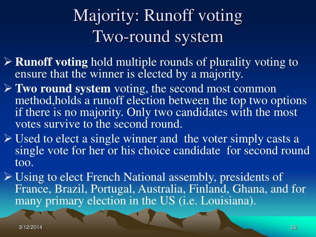 Majority: Runoff voting