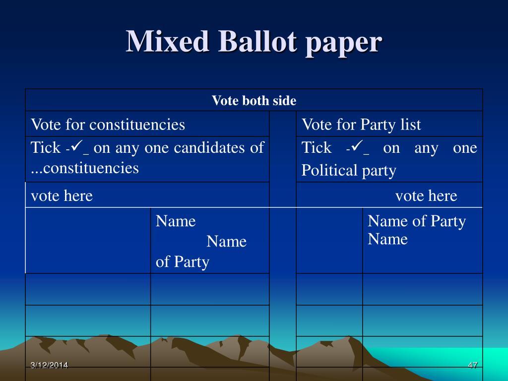 Mixed Ballot paper