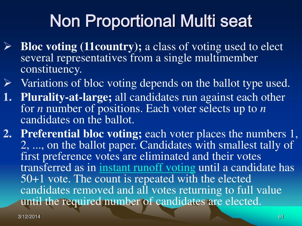 Non Proportional Multi seat