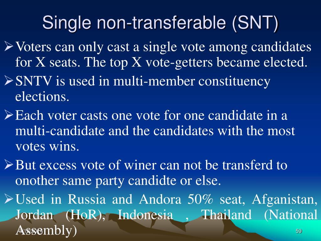 Single non-transferable (SNT)