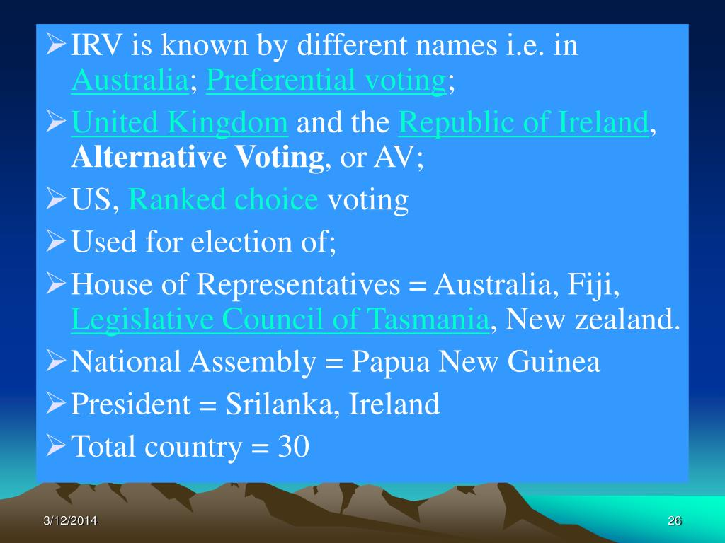 IRV is known by different names i.e. in