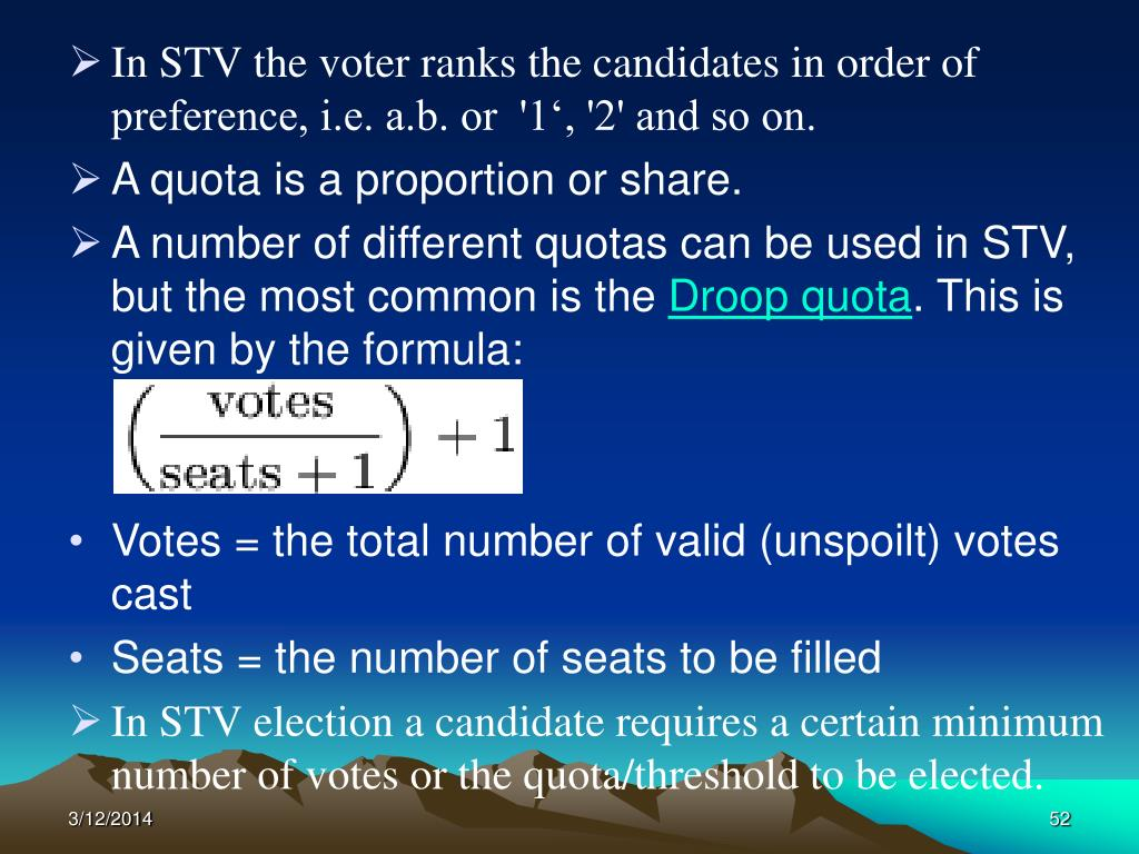 In STV the voter ranks the candidates in order of preference, i.e. a.b. or  '1', '2' and so on.