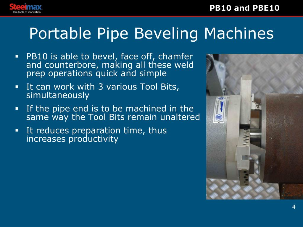 PPT - Portable Pipe Beveling Machine s PB10, Pneumatic PBE10
