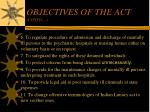 objectives of the act contd