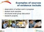 examples of sources of evidence include