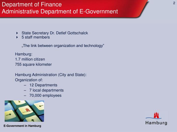 Department of finance administrative department of e government