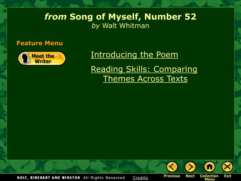 whitmans song of myself poem