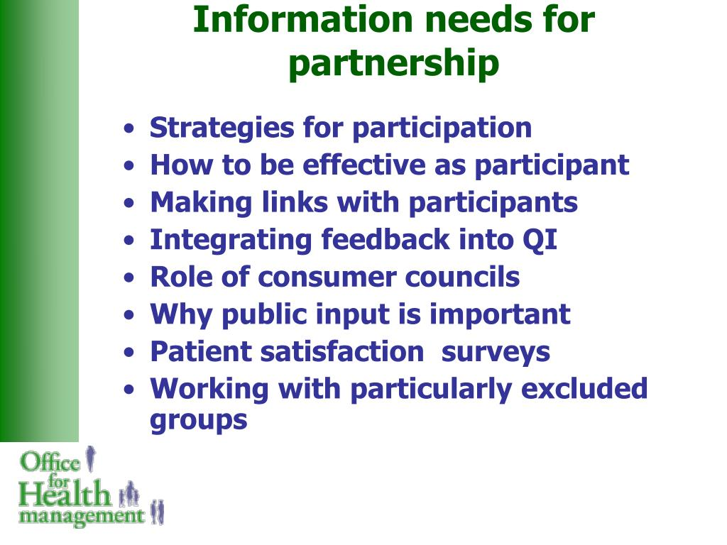 Information needs for partnership