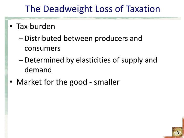 The deadweight loss of taxation3