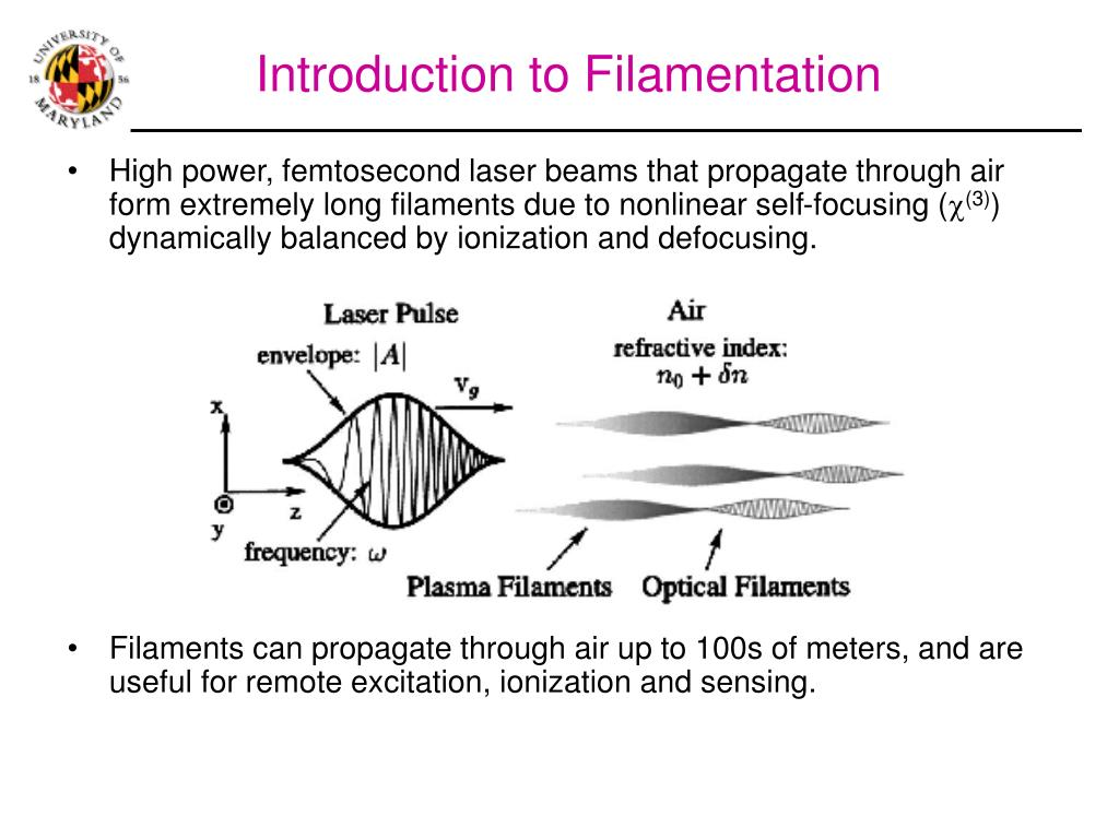 High power, femtosecond laser beams that propagate through air form extremely long filaments due to nonlinear self-focusing (