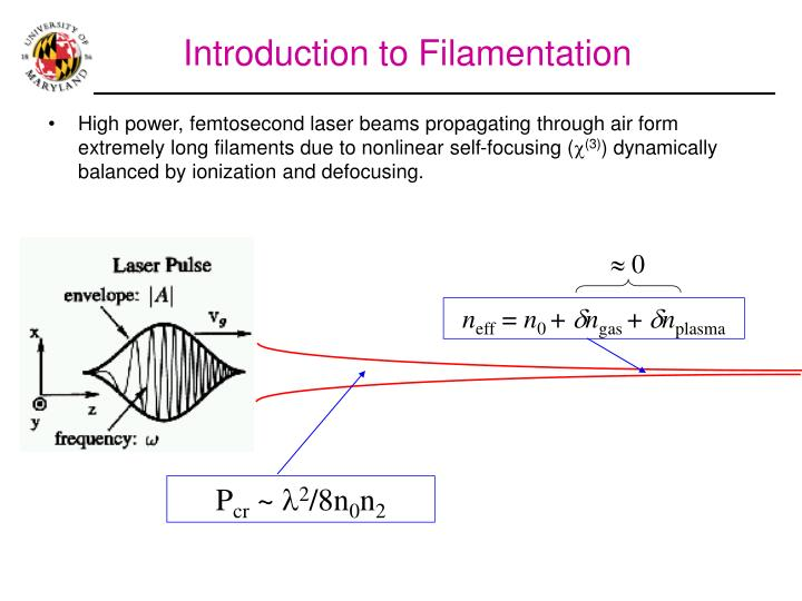 High power, femtosecond laser beams propagating through air form extremely long filaments due to non...