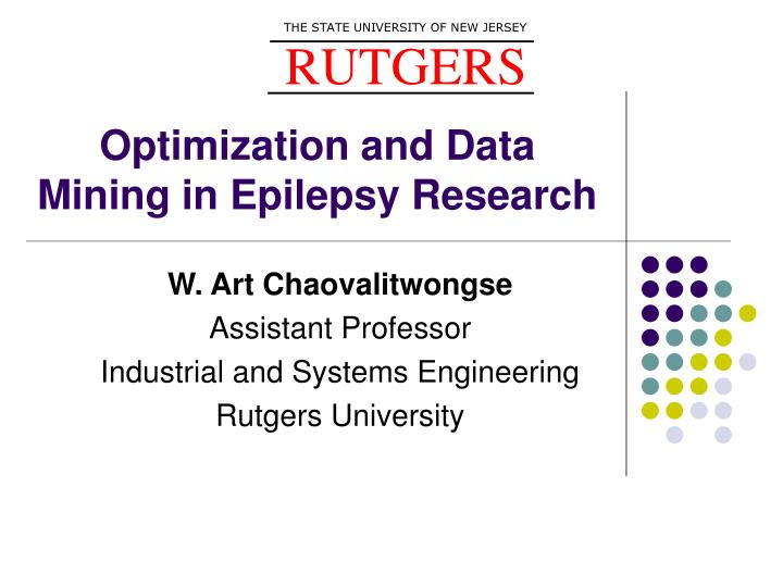 optimization and data mining in epilepsy research n.