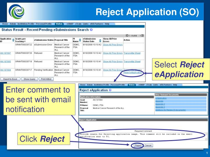 reject application so n.