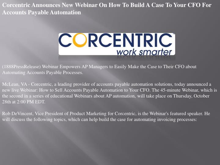 Corcentric Announces New Webinar On How To Build A Case To Your CFO For Accounts Payable Automation
