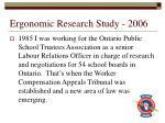 ergonomic research study 2006