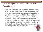 task analysis a new twist to job descriptions