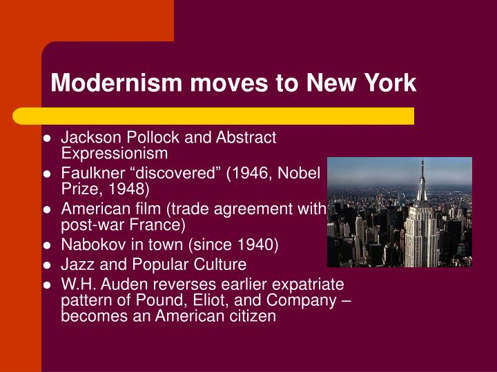 modernism moves to new york n.