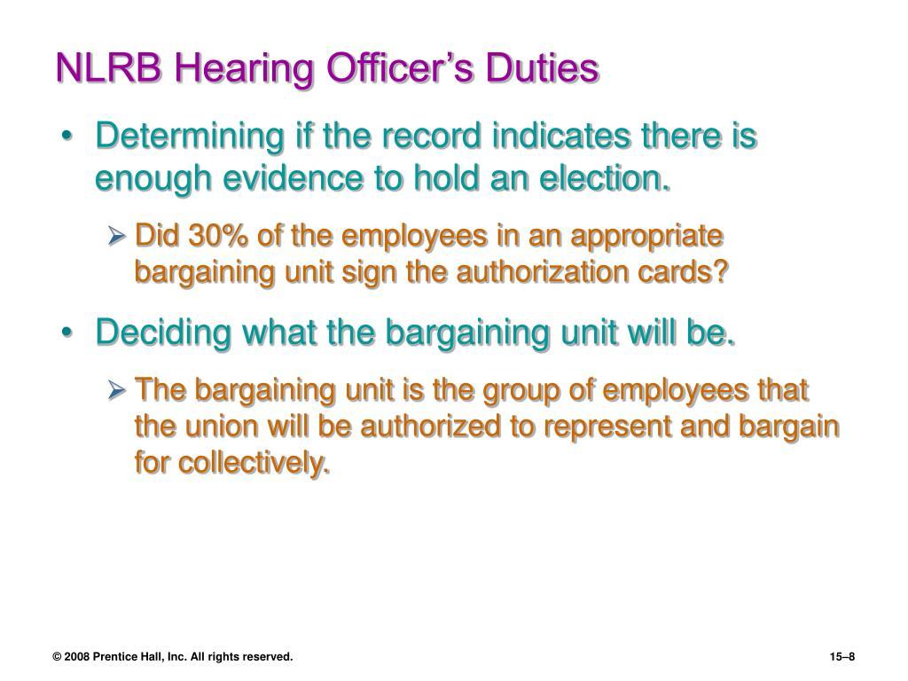 NLRB Hearing Officer's Duties