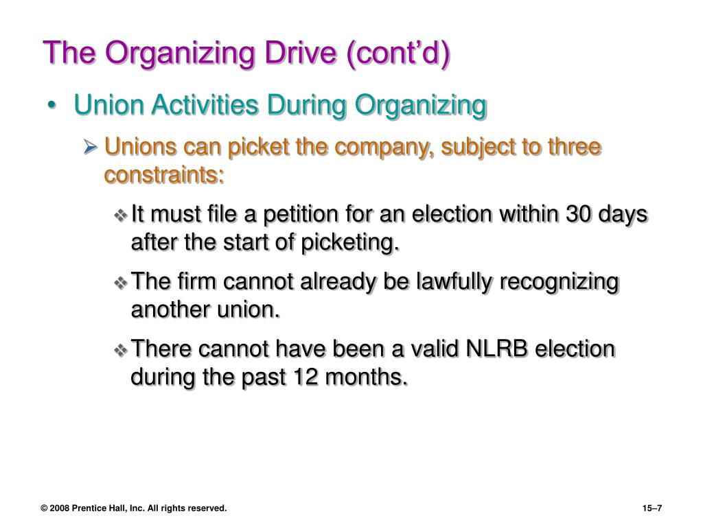 The Organizing Drive (cont'd)
