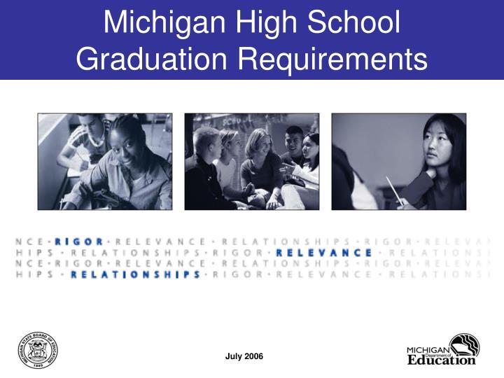 michigan high school graduation requirements n.