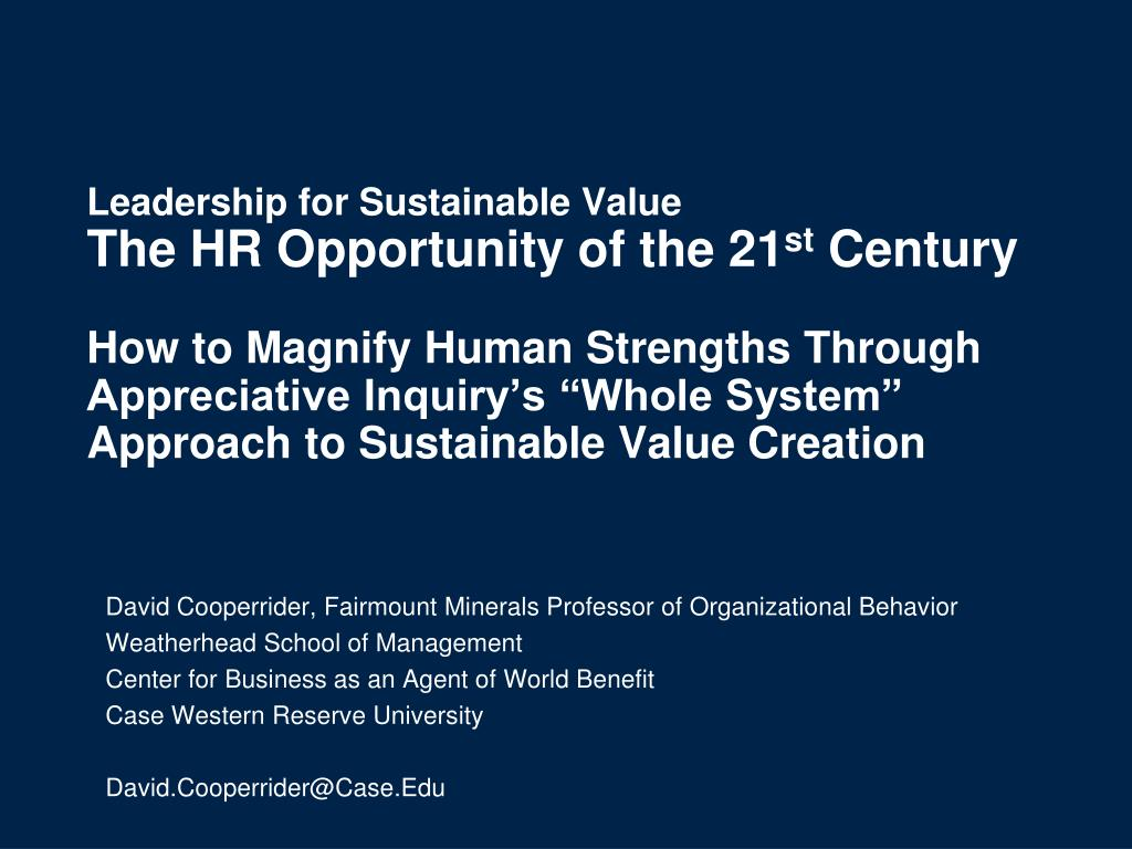 Leadership for Sustainable Value