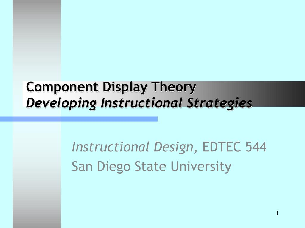 Ppt Component Display Theory Developing Instructional Strategies
