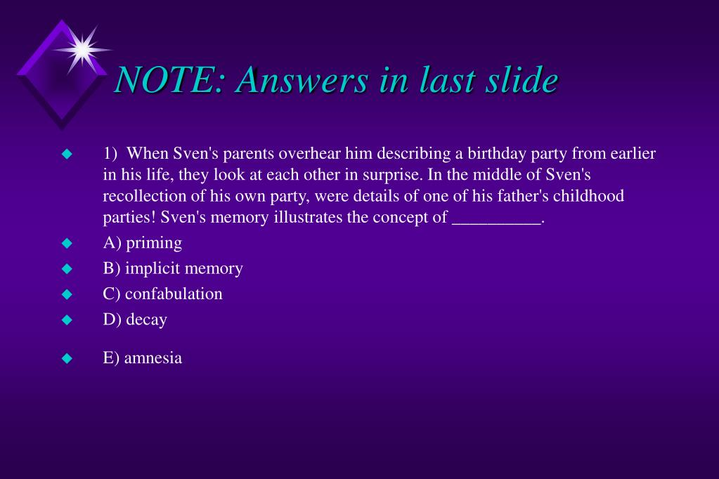 note answers in last slide l.