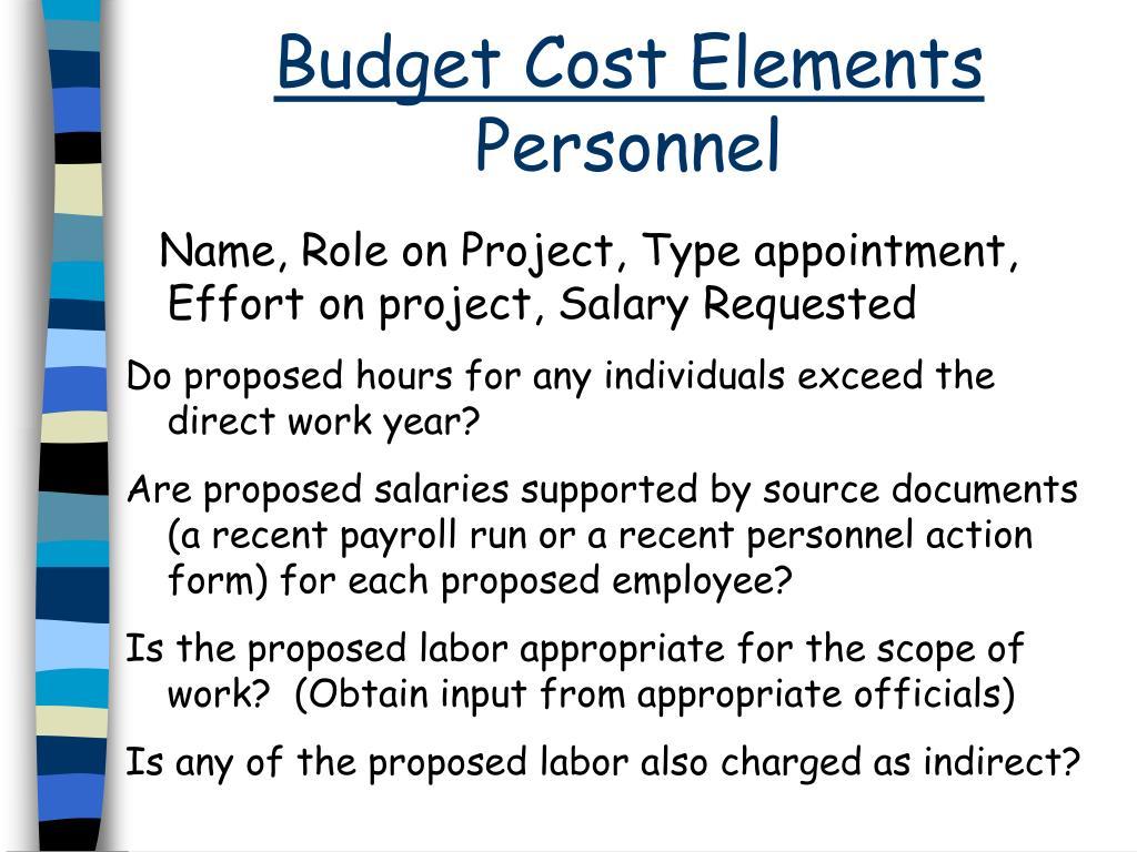 Budget Cost Elements