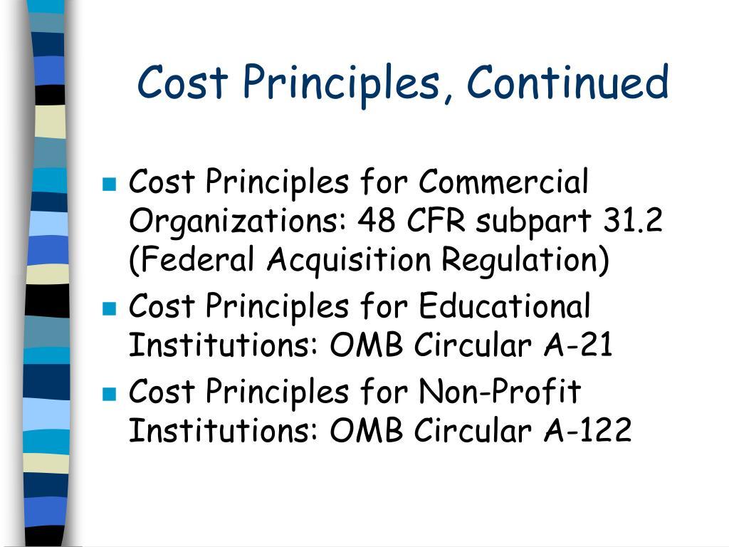 Cost Principles, Continued