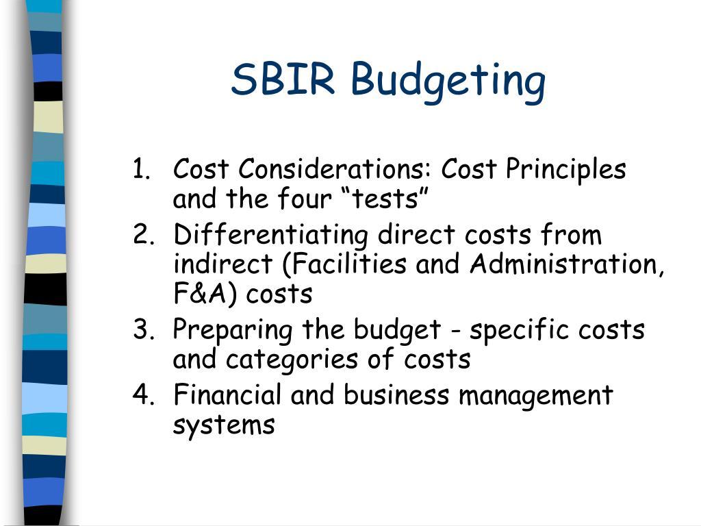 SBIR Budgeting